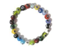 Multicolor Glass Bead Evil Eye Stretch Bracelet 8mm Item 3734