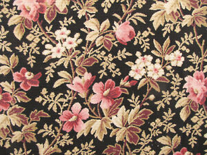 Floral Fabric Heavy weight upholstery antique French embroidered look black pink