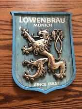 LOWENBRAU MUNICH BLUE AND GOLD PLASTIC WALL STAND-UP BEER SIGN!