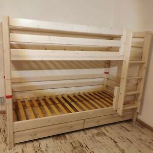 FLEXA Etagenbett senkrechte Leiter und 2 Schubladen, inkl. 2 Matratzen