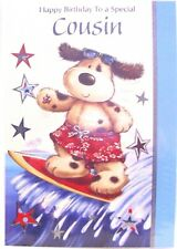 """Cute Dog Surfing """"SPECIAL COUSIN"""" Birthday Card"""