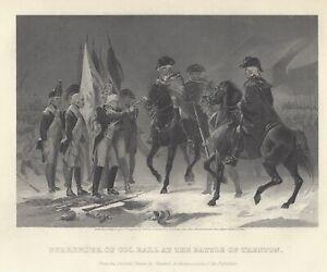 BRITISH SURRENDER TO GEORGE WASHINGTON 1866 Steel Engraving Antique Art Print