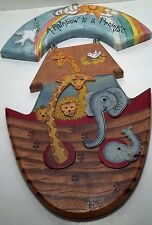 Shine Co. Wooden plaque hand painted Noah's Ark shaped 1998