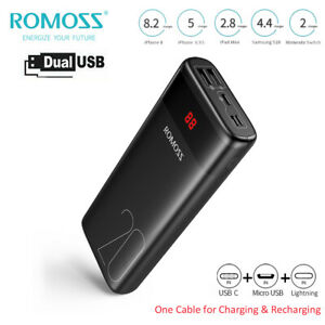 ROMOSS 20000mAh Power Bank Charge Rapide Dual USB Portable Batterie Externe LED
