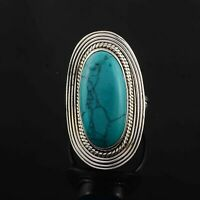 925 STERLING SILVER 4x6 mm Natural TURQUOISE Gemstone Women Ring Size US 6