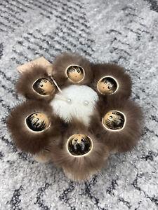 Alaska Eskimo Blanket Toss Pin Cushion Mink Hood Lining Hand Painted 6 Head