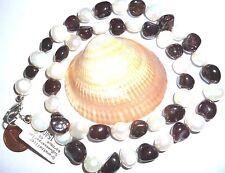 Kette Granat dunkelrot Süßwasserperlen weiß baroque 48 cm Collier Perlen Beauty
