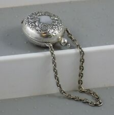 """Antique Repousse German Silver Coin Holder w/ Chain Purse 1 1/4"""" Use for Dolls"""