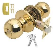 BALA Polished Brass Entrance Locking Knobset Door Ball Knobs Lock Sets + 2 Keys