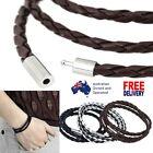 Simple Long Bracelet Necklace Rope Braided Leather Unisex Cuff Men Women