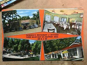 Gulfport Mississippi Fairchild's Restaurant Vintage linen Multi-View postcard