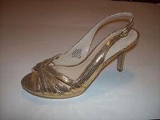 NWOB NINE WEST Gold Leather Open Toe Slingback High Heels Sz 8M