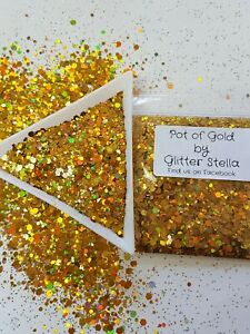 Nail Art Mixed Glitter ( Pot Of Gold) 10g Bag Chunky Shiny Coloured Holographic