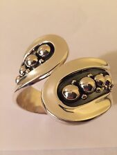 Stunning Handmade Pure 925 Sterling Silver Fine Cuff Bracelet 69.0 gr Taxco/Mex