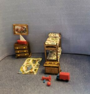 1:144 Scale Miniature Boys Room/Bunk Beds, Toy  Box,Toys, Dresser, Painting, Rug