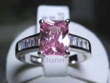 Cut Baguette Solitaire Size 9 925 Sterling Silver Pink Radiant Emerald
