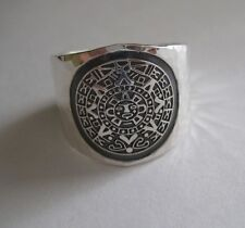 Mexican 925 Silver Taxco Thick AZTEC CALENDAR MAYAN Hammered Unisex Ring Sz  6.5
