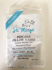Vintage St. Mary's White Cotton Percale Pillow Cases - 2 pack NIP