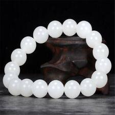 10MM White Hetian jade Gemstone Mala Bracelet 7.5 inches Women Lucky Classic