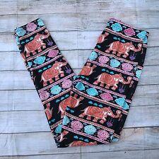 Blue Orange and Pink ELEPHANT Design Women's Leggings OS One Size 2-12 (Unicorn)