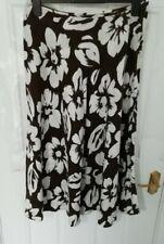 ❤ HOBBS Marilyn Anselm Size 14 Brown White Floral 100% Linen Skirt Side Zip