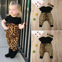US Toddler Baby Girl Newborn Clothes Leopard Outfits Romper Bodysuit Playsuit
