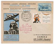 1947, première liaison Poste aérienne Brussels-Cairo/Flight airmail covers, RARE