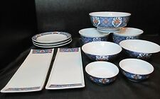 Oriental Blue Floral Bowls, Dish Tray, Bread and Butter Set of 12 Pieces