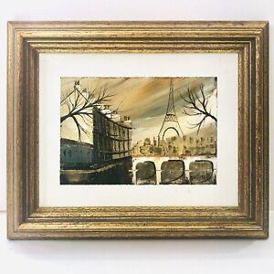 Y Destino H Signed Framed Vintage Miniature Oil Painting Paris Seine River