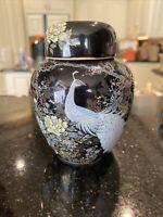 Vtg Japan Shibata Ginger Jar Urn Vase Peacock Flower Garden Cherry Blossom Tree