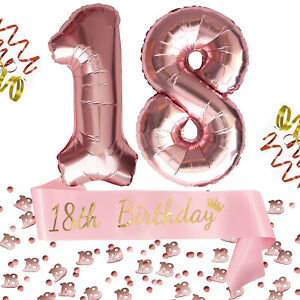 18. Geburtstag Party Deko Set - 18th Birthday Schärpe Zahl 18 Ballons Konfetti