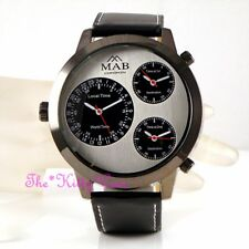 Hematite & Black Leather Triple Time 3 Zone Multi Dial Linen Luk Statement Watch