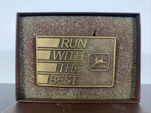 1988 John Deere Logo Run With The Best Brass Belt Buckle Special Edition Moline
