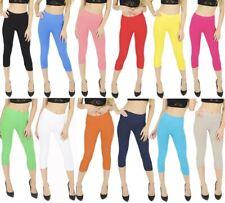 Womens cropped 3/4 capri length three quarter leggings toreador pants crop legs