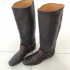 RARE Gucci Tall High Harness Strap Crest Leather Boots Brown Italy 38 US 8