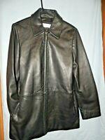Womens size L Liz Claiborne black leather lined zipper jacket soft large vintage