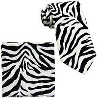 New Vesuvio Napoli Polyester Men's Neck Tie & hankie set zebra print white