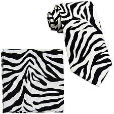 New Vesuvio Napoli Polyester Men's Neck Tie & hankie set zebra print white
