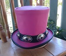 PINK LEATHER GUNS 'N ROSES SLASH TRIBUTE TOP HAT GUITARIST HIGH HAT HEAVY METAL