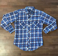 DEE CEE Vintage Mens Red/White/Blue Plaid Flannel Button Up Shirt Size Medium M