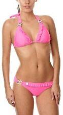 Lipsy Bikini Bra Bottoms Set Diamante Trim Neon Pink Womens Size 8