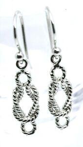 Genuine New 9ct 9k  White Gold Swirl Knot Hook Earrings