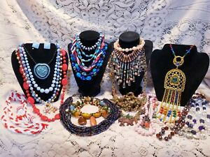 21 Piece Vintage and Modern Colorful Beaded Necklace Lot - Germany