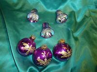 ~ 6 alte Christbaumkugeln Glas Glocken lila violett gold Weihnachtskugeln CBS ~