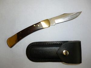 RAZOR BLADES LIMITED EDITION BLACKWOOD STOCKMAN LOCK BACK POCKET HUNTING KNIFE
