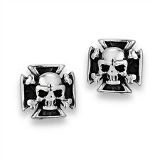 Stainless Steel IRON CROSS Post Stud Earrings Biker Gothic w Centered Skull