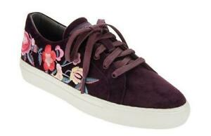 Chic Skechers Burgundy Velvet Colorful Floral Embroidered Shoes Wm's NEW DISC
