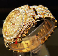 Men Hip Hop Iced out Gold  Techno Pave Bling Rapper Watch Simulated Crystal