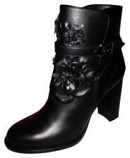 VALENTINO Black Leather Flowers Buckle VE Chelsea Ankle Boot Heels Booties 39/9