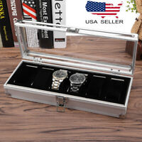 6 Slot Watch Box Aluminum Display Case Organizer Top Glass Jewelry Storage